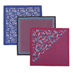 Набор из трех шелковых нагрудных платков, бордово - синий, 92-7Z-001-X2, Фотография 1