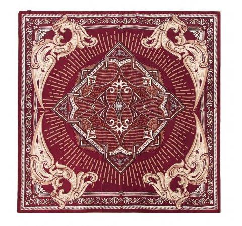 Шелковый шарф большой, бордовый-бежевый, 91-7D-S31-X3, Фотография 1