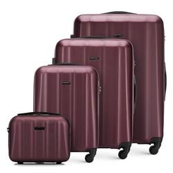Комплект текстурных чемоданов из поликарбоната, бордовый, 56-3P-11K-35, Фотография 1