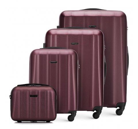 Комплект текстурных чемоданов из поликарбоната, бордовый, 56-3P-11K-90, Фотография 1