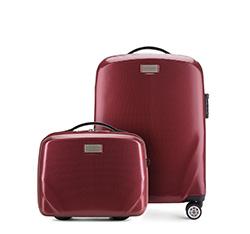 Комплект ( чемодан ручная кладь + косметичка), бордовый, 56-3P-571_4-35, Фотография 1