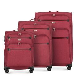Комплект тканевых чемоданов с красной молнией, бордовый, 56-3S-50S-30, Фотография 1