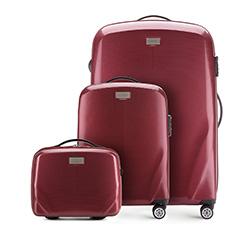 Комплект (Ручная кладь + большой чемодан + косметичка), бордовый, 56-3P-571_3_4-35, Фотография 1