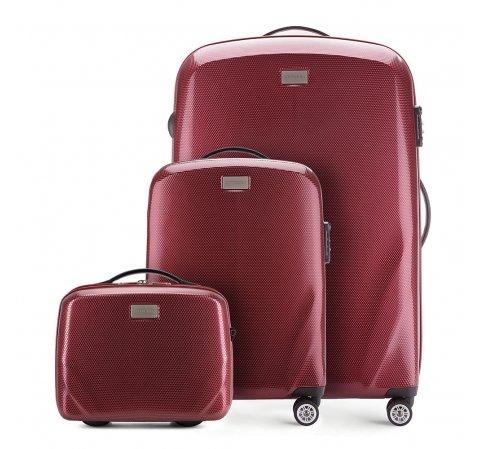 Комплект (Ручная кладь + большой чемодан + косметичка), бордовый, 56-3P-571_3_4-90, Фотография 1