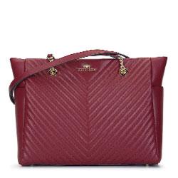 Кожаная сумка-шоппер наискось стеганая, бордовый, 93-4E-603-3, Фотография 1