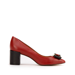 Кожаные туфли-лодочки на каблуке с пряжкой, бордовый, 93-D-750-3-37, Фотография 1