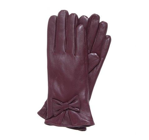 Женские кожаные перчатки с бантом, бордовый, 39-6-550-Z-L, Фотография 1