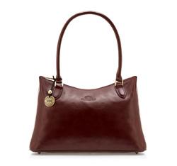 Кожаная сумка-шоппер с длинными ручками, бордовый, 35-4-051-2, Фотография 1