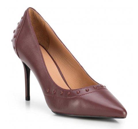 Кожаные туфли на шпильке с заклепками, бордовый, 89-D-900-2-41, Фотография 1