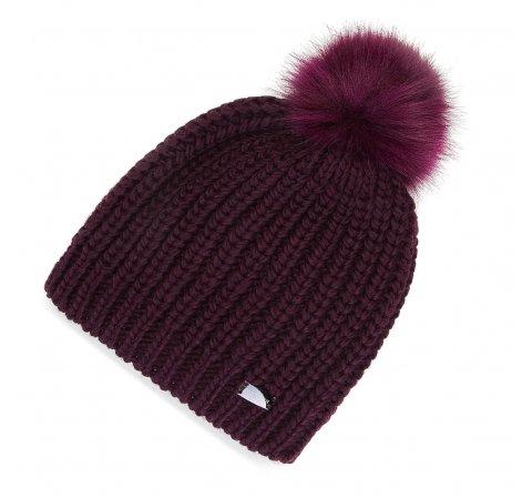 Женская простая шапка с помпоном, бордовый, 91-HF-001-F, Фотография 1
