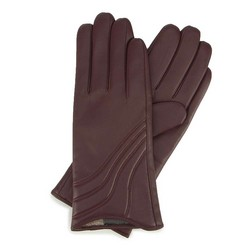 Женские кожаные перчатки с строчками, бордовый, 44-6-526-BD-L, Фотография 1