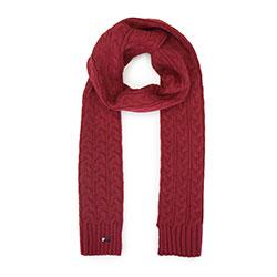 Женский плетеный шарф с косами, бордовый, 93-7F-006-2, Фотография 1