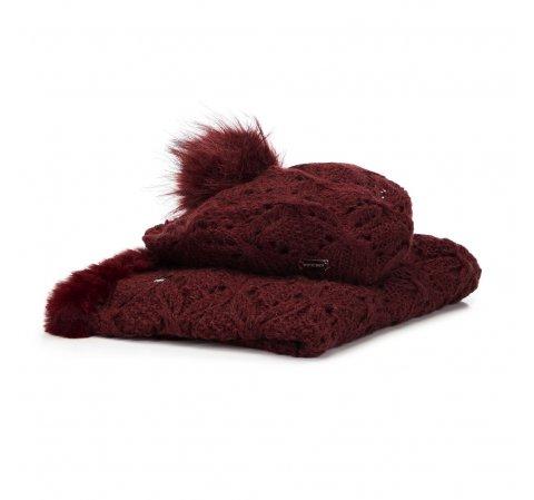 Женский зимний ажурный комплект, бордовый, 91-SF-002-2, Фотография 1