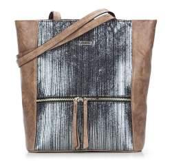 Einkaufstasche, braun - silberfarbig, 87-4Y-762-4, Bild 1