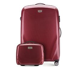 Nagy bőrönd és neszeszer poliokarbonátból, sötét vörös, 56-3P-573_4-35, Fénykép 1