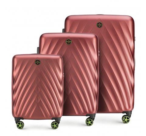 Bőröndkészlet polikarbonát, sötét vörös, 56-3P-80S-44, Fénykép 1