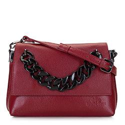 Женская кожаная сумка через плечо с цепочкой с крупными звеньями, бургундовый, 92-4E-306-3, Фотография 1