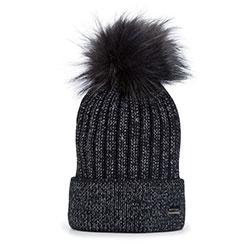 Dámská čepice, černá, 93-HF-010-1, Obrázek 1