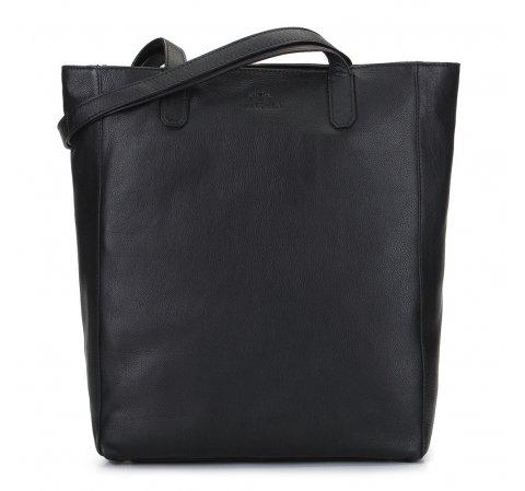 Černá kožená tote kabelka