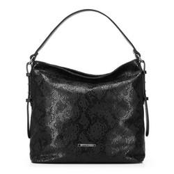 Dámská kabelka se vzorem hadí kůže, černá, 91-4Y-206-1, Obrázek 1