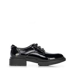 Dámské boty z lakované kůže s plochým podpatkem, černá, 91-D-952-1-36, Obrázek 1