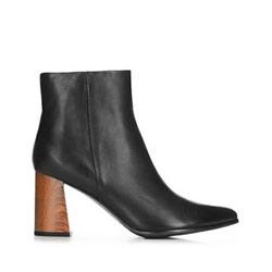 Dámské kotníkové boty s podpatky z imitace dřeva, černá, 91-D-958-1-37, Obrázek 1