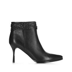 Dámské kožené kotníkové boty, černá, 91-D-960-1-35, Obrázek 1