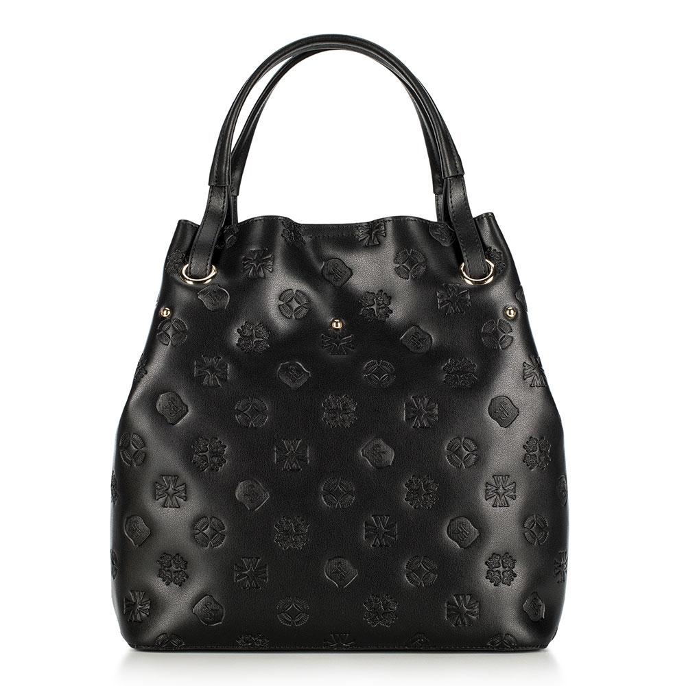 Dámská kožená kabelka, černá, 91-4E-619-1, Obrázek 1