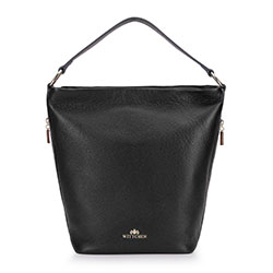 Kožená taška s bočními kapsami, černá, 93-4E-613-1, Obrázek 1