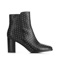 Kožené boty s nýty, černá, 91-D-957-1-37, Obrázek 1