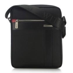 Pánská taška z nylonu a kůže, černá, 91-4U-204-1, Obrázek 1