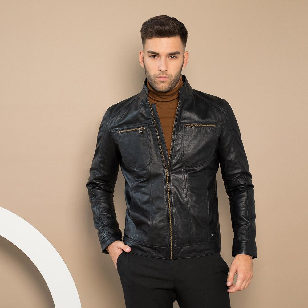Pánská kožená bunda, černá, 91-09-250-1-S, Obrázek 1