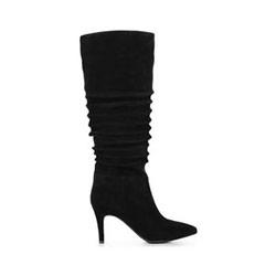 Dámské boty z semišové kůže, černá, 91-D-963-1-35, Obrázek 1