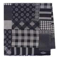 Pánská hedvábná šála, černo-béžová, 93-7M-S41-4, Obrázek 1