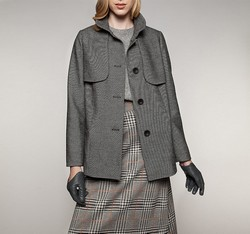 Dámský kabát, černo-bílá, 85-9W-101-W-S, Obrázek 1