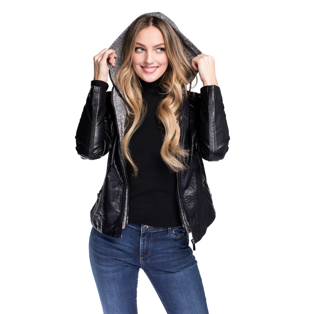 Dámská bunda, černo šedá, 92-9P-901-1-M, Obrázek 1