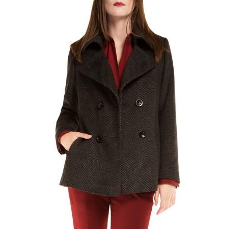 Dámský kabát, černo šedá, 85-9W-104-1-M, Obrázek 1