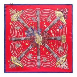 Hedvábný šátek, červeno-žlutá, 93-7D-S01-21, Obrázek 1