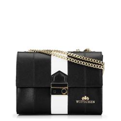 Кожаная сумка через плечо с регулируемой цепочкой, черно-белый, 92-4E-630-1B, Фотография 1