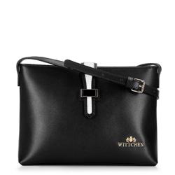 Женская кожаная сумка через плечо с контрастной застежкой, черно-белый, 92-4E-610-10, Фотография 1