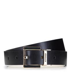 Женский кожаный ремень с логотипом, черно-белый, 92-8D-300-19-L, Фотография 1