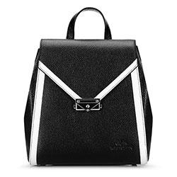 Женский кожаный рюкзак с клапаном в форме конверта, черно-белый, 92-4E-312-1, Фотография 1