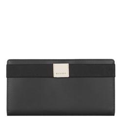 Кожаный чехол  для документов с нашивкой-логотипом, черно-бежевый, 26-2-088-19, Фотография 1