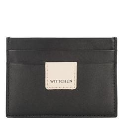 Кожаный чехол для документов с нашивкой-логотипом, черно-бежевый, 26-2-918-19, Фотография 1