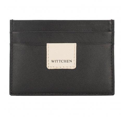 Кожаный чехол для документов с нашивкой-логотипом, черно-бежевый, 26-2-918-17, Фотография 1