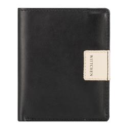 Кожаный кошелек RFID с нашивкой-логотипом |, черно-бежевый, 26-1-432-19, Фотография 1