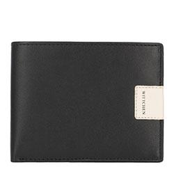 Кожаный  складной кошелек с нашивкой-логотипом, черно-бежевый, 26-1-262-19, Фотография 1
