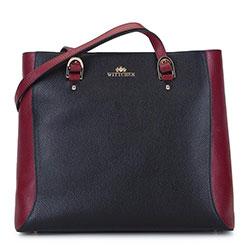 Сумка-шоппер из двухцветной кожи, черно-бордовый, 93-4E-611-13, Фотография 1