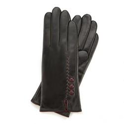 Женские кожаные перчатки с ремешком, черно-фиолетовый, 44-6-911-1-L, Фотография 1