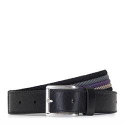 Плетеный мужской ремень из кожи и хлопка, черно-фиолетовый, 92-8M-390-1X-10, Фотография 1